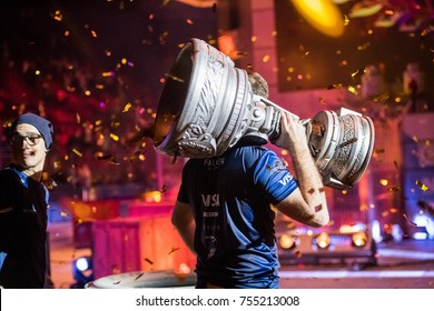 SAINT PETERSBURG, RUSSIA - OCTOBER 29 2017: EPICENTER Counter Strike: Global Offensive cyber sport event. Winners brazilian team SK Gaming on a main stage picks up the main cup. Celebrating a win