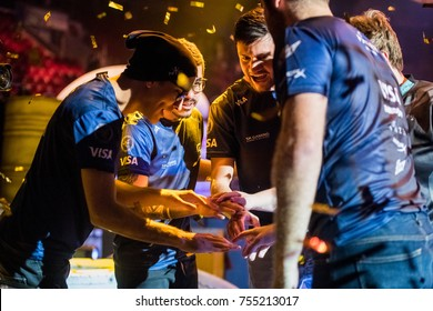SAINT PETERSBURG, RUSSIA - OCTOBER 29 2017: EPICENTER Counter Strike: Global Offensive cyber sport event. Brazilian winner team SK Gaming celebrates after the grand final match staying together