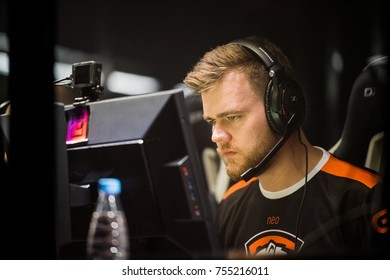 SAINT PETERSBURG, RUSSIA - OCTOBER 29 2017: EPICENTER Counter Strike: Global Offensive cyber sport event. Team Virtus.pro professional gamer during grand final match of the tournament