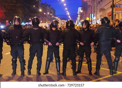 Saint Petersburg, Russia, October 7, 2017: The police blocked the way for protesters. Protests for Navalny on Putin birthday. Supporters of opposition leader Navalny rally across Russia.
