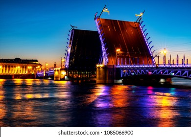 Saint Petersburg, Russia. The Opening of The Palace Bridge over the River Neva in St Petersburg, Russia. Sunset in summer