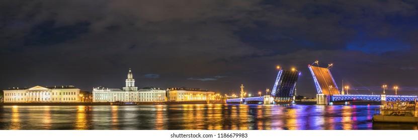 Saint Petersburg Russia, panorama night city skyline at Palace Bridge