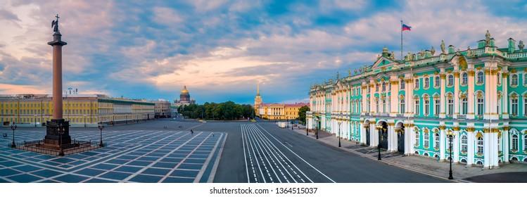 Saint Petersburg. Russia. Panorama of Palace Square. Winter Palace. Hermitage. Alexander Column. Museums of St. Petersburg. Summer St. Petersburg center. Cities of Russia. Travel to Saint Petersburg.
