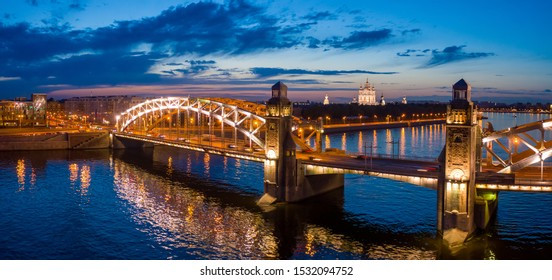 Saint Petersburg. Russia. Panorama Of St. Petersburg. White night. Bridges Of St. Petersburg. The bridge across the river. Peter The Great Bridge. Bolsheokhtinsky. Smolny cathedral.