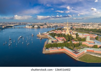 Saint Petersburg. Russia. Panorama view of the Peter and Paul Fortress. Star Peter and Paul Fortress. Rabbit Island. Vasilyevsky Island. Neva River. Bridges of St. Petersburg. Travel to Russia.