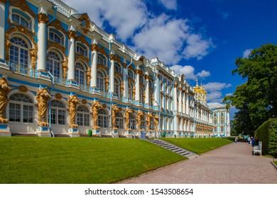 Saint Petersburg. Russia. Pushkin Catherine Palace in Tsarskoye Selo. Traveling to the cities of Russia. Catherine's Palace in summer weather. Tours to St. Petersburg. Russia day. 09.08.2017