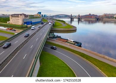 Saint Petersburg. Russia. Roads of Russia. Bridges of St. Petersburg. The name of the bridge. Panorama of the roads of Russia. Petersburg Summer day. Peter the Great Bridge. Bolsheokhtinsky bridge