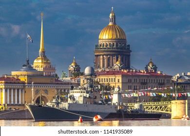 Saint Petersburg. Russia. A sea holiday. Saint Isaac's Cathedral. Warships on the Neva River. Parade of warships. Summer day in St. Petersburg. Military of Russia.