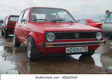 SAINT PETERSBURG, RUSSIA - SEPTEMBER 04, 2016: Red Volkswagen Golf the first generation on the retro car show in Kronstadt