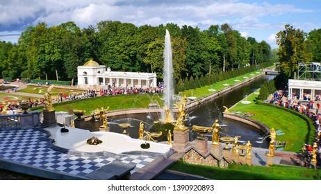 Saint Petersburg Russia - September 17th, 2017: Exterior of Peterhof Palace : The Grand Cascade and Samson Fountain