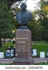 Saint Petersburg, Russia, September 20, 2018. Nikolai Gogol Monument in Alexander Garden, Saint Petersburg, Russia on September 20, 2018.