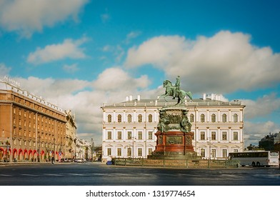 SAINT PETERSBURG, RUSSIA -SEPTEMBER 23 , 2018 : Monument to Nicholas I at St. Isaac's Square