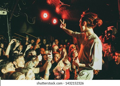 Saint Petersburg, Russia - September 28, 2018: Cakeboy with GONE.Fludd and Flipper Floyd concert, russian rapper in Action Club