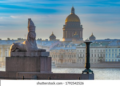 Saint Petersburg. Russia. Sphinx. Isaakievsky cathedral. Sights Of St. Petersburg. Monuments Of St. Petersburg. Embankment of the Neva river. Cities of Russia.