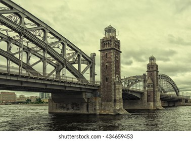 Saint Petersburg, Russia, a view of Bolsheokhtinsky bridge over the Neva river at a very cloudy spring day.