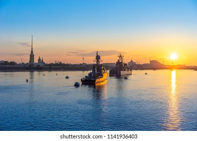 Saint Petersburg Russia. Warships on the Neva River. Warships in the sun. Morning in Petersburg. Peter-Pavel's Fortress. The Armed Forces of Russia. A parade of ships. The Neva River in St. Petersbur
