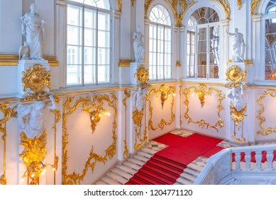 SAINT PETERSBURG, RUSSIA-APRIL 11,2018 : The interior details of The Jordan Staircase of the Winter Palace in the State Hermitage, a museum of art and culture in Saint Petersburg, Russia.