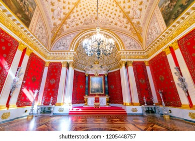 SAINT PETERSBURG, RUSSIA-APRIL 11,2018 : The interior of the Petrovsky Small Throne Hall in the State Hermitage, a museum of art and culture in Saint Petersburg, Russia.