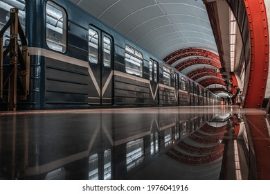 SAINT PETERSBURG, RUSSIA-JULY 14, 2020-Obvodny Kanal Metro Station in Saint Petersburg, Russia