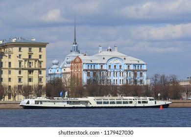 Saint Petersburg, RUSSIA-MAY 03, 2017: view of Nakhimov naval school and Volga-Volga motor ship restaurant