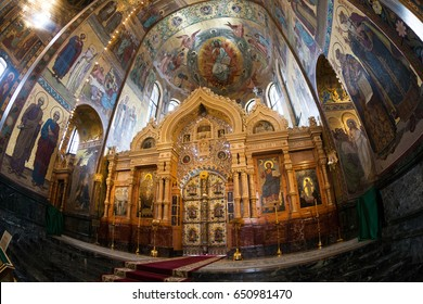 Saint Petersburg, Russian Federation. February 24, 2017. Church of the Savior on Spilled Blood (Spasa na krovi) wich was built on the site where EmperorAlexander IIwas killed. Interior is mosaic.