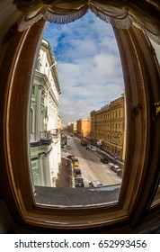 Saint Petersburg, Russian Federation. February 25, 2017. The State Hermitage Museum (Winter Palace). View from the window of the imperial room on the street Millionnaya. Fisheye lens.
