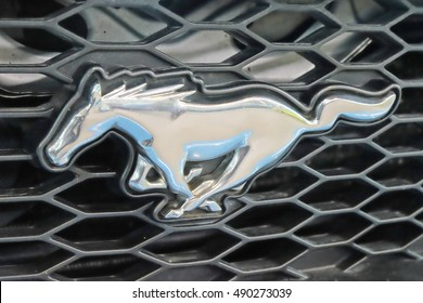Saint Petersburg, Russia-September 25, 2016: Logo Ford Mustang.Iconic car from the USA.