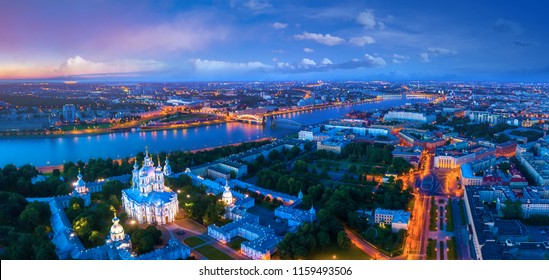 Saint Petersburg. Smolny Cathedral. Petersburg from the heights. Panorama of St. Petersburg. Cities of Russia. Panorama of the Neva River. Streets of Petersburg. Russia. Bolsheokhtinsky Bridge.