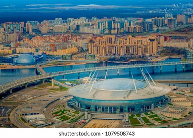 Saint Petersburg stadium Zenit Arena on Krestovsky Island. The most expensive stadium in the world. Aerial view