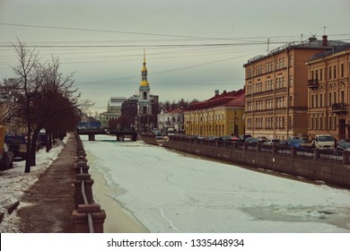 Saint Petersburg street on both sides of Obvodnoy Channel in early spring