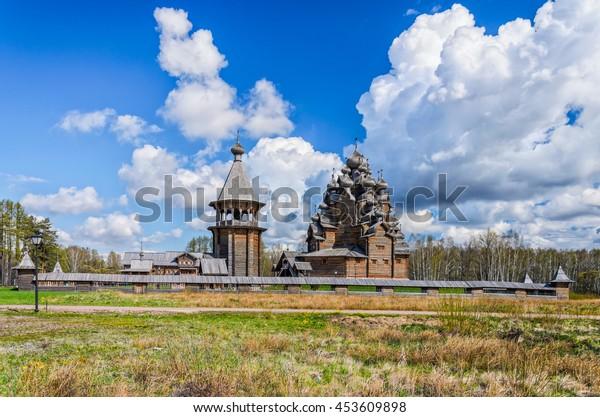 Saint Petersburg suburbs, Russia. Bogoslovka manor complex. The Pokrovskaya church and the bellfry.