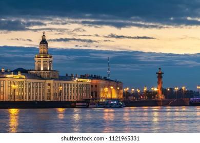 Saint Petersburg sunrise city skyline at Palace Bridge and Rostral Column, Saint Petersburg, Russia