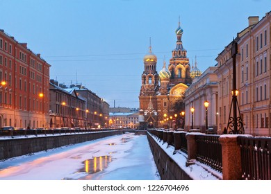 Saint Petersburg. View of the Church of the Savior on Spilled Blood (Spas na Krovi) from the embankment of the Griboyedov canal on a winter morning. Christmas holidays