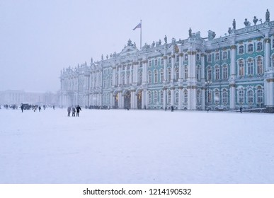 Saint Petersburg in winter. Palace Square and the Hermitage Museum in the heavy snow