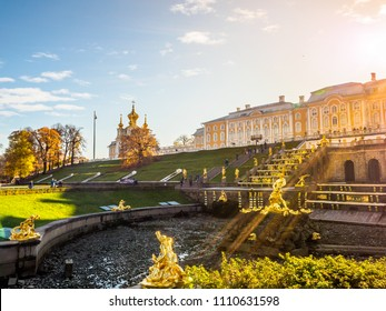 SAINT PETERSBURGE, RUSSIA - OCTOBER 21, 2017: Photo of Palace Grand cascade in Peterhof, known as Petrodvorets from 1944 to 1997. The Peterhof Palace included in the UNESCO's World Heritage List.
