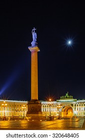 Saint Petersburg/Russia August 05, 2015: Night view of Palace square, Alexander column and General state