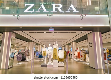 SAINT PETERSBURT, RUSSIA - CIRCA MAY, 2018: entrance to Zara store in Galeria shopping center.