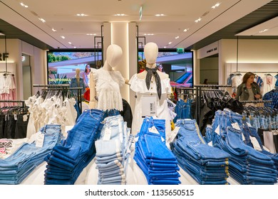 SAINT PETERSBURT, RUSSIA - CIRCA MAY, 2018: jeans on display at Zara store in Galeria shopping center.