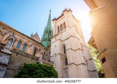 Saint Pierre church in the old town of Geneva city in Switzerland