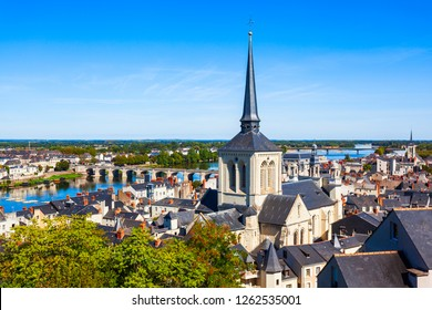 Saint Pierre church and Saumur city aerial panoramic view, Loire valley in France