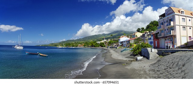 SAINT PIERRE, MARTINIQUE, JUNUARY 2 : The littoral of caribbean Saint Pierre town on January 2, 2017, Martinique island, French, Lesser Antilles