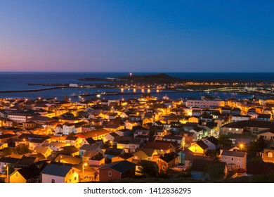 Saint Pierre panorama at night. Saint Pierre, Saint Pierre and Miquelon.