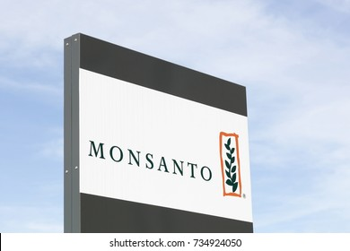 Saint Priest, France - October 7, 2017: Monsanto logo on a panel. Monsanto company is a publicly traded American multinational agrochemical and agricultural biotechnology corporation