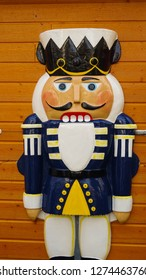Saint Quentin / France - 12 24 2018: nutcracker as a decoration at christmas markets in Saint Quentin, Picardy region, France, Europe