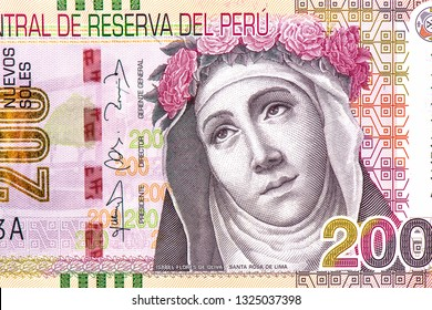 Saint Rose of Lima portrait from Peruvian money. 200 Nuevos Soles banknote. Peruvian is the national currency of Peruvian. Close Up UNC Uncirculated - Collection.