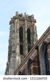Saint Rumbold's Cathedral's bell tower in Mechelen, Belgium