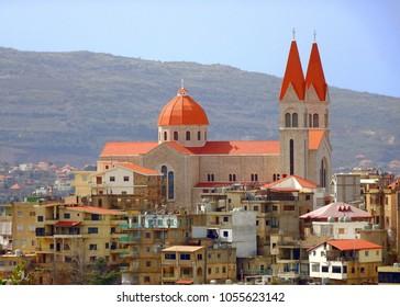 Saint Saba Church or Mar Saba Cathedral; the Maronite Church in Bsharri town near Qadisha Valley (Kadisha Gorge / Wadi Kadisha / Ouadi Qadisha) Bcharreh, Liban-Nord, Lebanon.