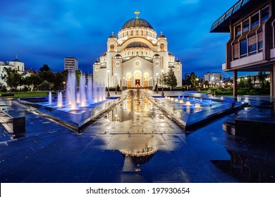 Saint Sava temple with fountain in Belgrade Serbia