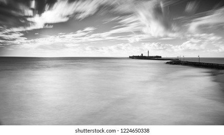 Saint Sebastian Castle Long Exposure Cadiz Spain