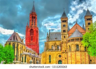Saint Servatius Basilica and St. John Church on Vrijthof Square in Maastricht - Limburg, Netherlands
